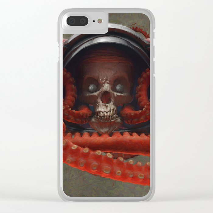 Tentacles & Skull Color Clear iPhone Case