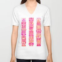 tiki V-neck T-shirts featuring Tiki Totems – Pink Palette by Cat Coquillette