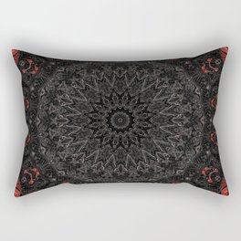 Red and Black Bohemian Mandala Design Rectangular Pillow