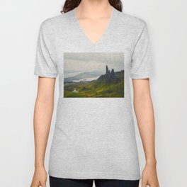 Scandinavian Landscape Green Hills Jagged Mountains And Glacier Lakes Unisex V-Neck
