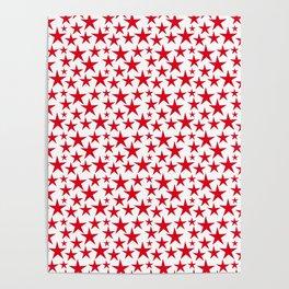 Red stars on white background illustration Poster