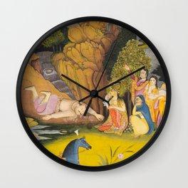 Farhad Kills Himself After Hearing the False News of Shirin's Death - 19th Century Classical Indian Art Wall Clock