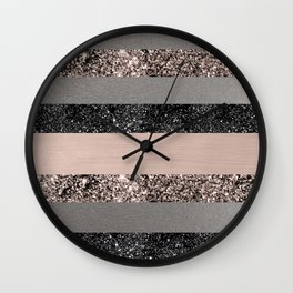 Blush Glitter Glam Stripes #1 #shiny #decor #art #society6 Wall Clock