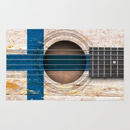 Old Vintage Acoustic Guitar with Finnish Flag Rug