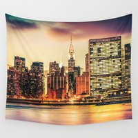 new york city Wall Tapestries featuring New York City Skyline by Vivienne Gucwa