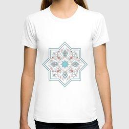Turquoise Floral Tile Art T-shirt