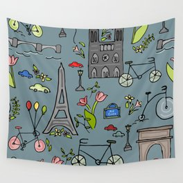 Cycling Through Paris Wall Tapestry