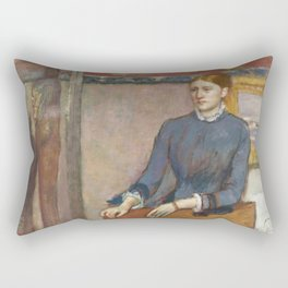 Helene Rouart in her Father's Study by Edgar Degas Rectangular Pillow