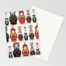 Russian Nesting Dolls – Red & Black Stationery Cards