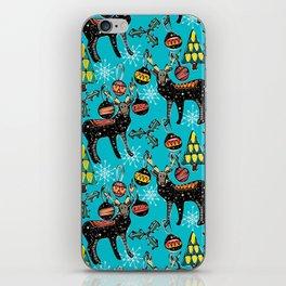 festive deer blue iPhone Skin
