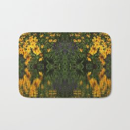 YELLOW RUDBECKIA DAISIES WATER REFLECTIONS Bath Mat