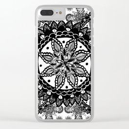 Black and White Chaotic Mandala Pattern Clear iPhone Case