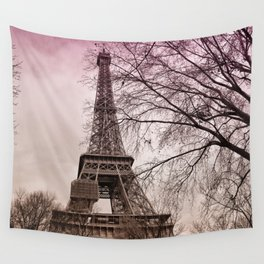 Eiffel Tower Paris in pink Wall Tapestry