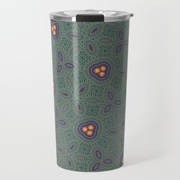 Bohemian Peacock and Leaf Thread Weave Pattern \\ Yellow Green Blue Purple Color Scheme Travel Mug