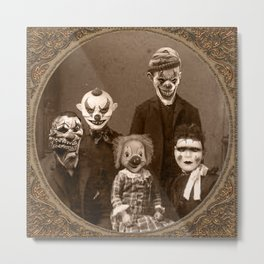 Creepy Clown Family Halloween Metal Print