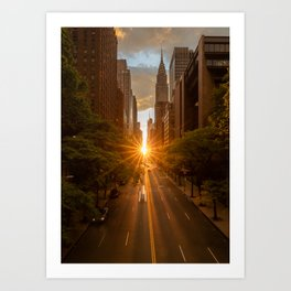 ManhattanHenge - sun setting along 42nd Street Art Print