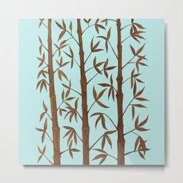 Gold Bamboo Trees Metal Print