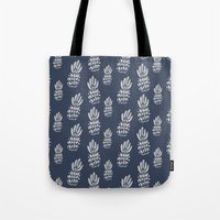 gray pattern Tote Bags featuring Pineapple Pattern - Navy + Gray by Allyson Johnson