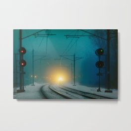 At the Train Station Metal Print
