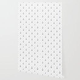 Modern geometrical hand painted diamond floral polka dots Wallpaper