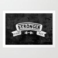Stronger Every Day (dumbbell, black & white) Art Print