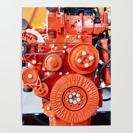 Red diesel engine for truck Poster