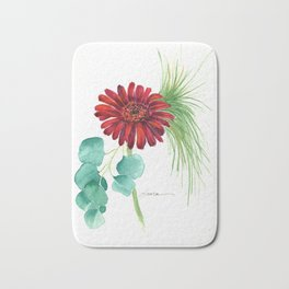 Red Christmas Gerber Daisy Bath Mat