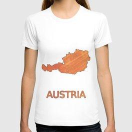 Austria map outline Sunny orange clouded watercolor T-shirt