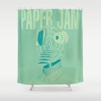 derek hale Shower Curtains featuring Paper Jam '15 I by Taylor Hale by UCO Design