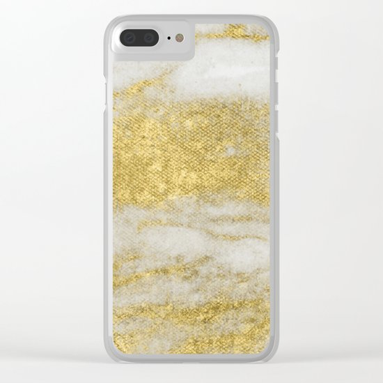 Marble - Glittery Gold Marble and White Pattern Clear iPhone Case