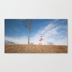 a little cutie on bicycle Canvas Print