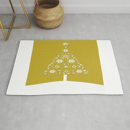 Christmas Tree Of Snowflakes and Stars On Mustard Background Rug