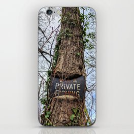 Fishing sign imbedded in Tree iPhone Skin