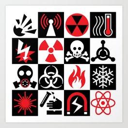 Hazard Danger Icons Art Print