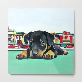 Doberman Puppy Guarding the Model Railroad Metal Print