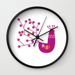 Vibrant Peacock character. Just perfect vibrant Purple color Wall Clock