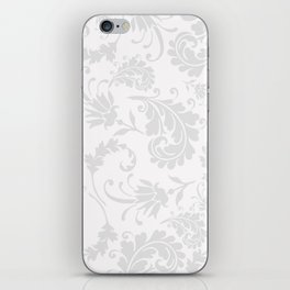 Vintage of white elegant floral damask pattern iPhone Skin