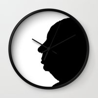hitchcock Wall Clocks featuring Alfred Hitchcock by Silvio Ledbetter