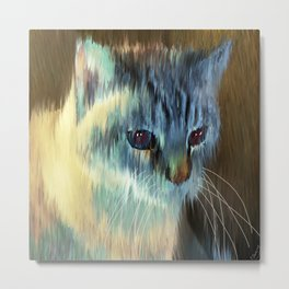 Cat In Blues And Yellows Metal Print