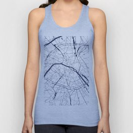 Paris France Minimal Street Map - Navy Blue and White Unisex Tank Top