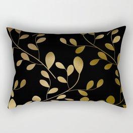 Art Deco-Inspired Gold Leaves on Gold Vines Rectangular Pillow