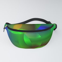 Abstract soap  from space neon bright circles and bubbles on a shiny background. Fanny Pack