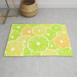 Lemon, orange and lime slices pattern design Rug