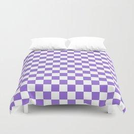 Small Checkered - White and Dark Pastel Purple Duvet Cover