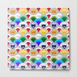 Japanese Wave Pattern cat Rainbow Metal Print