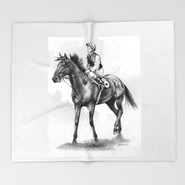 About To Play Up - Racehorse Throw Blanket