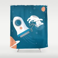 darwin Shower Curtains featuring Darwin the Diddy Dog Diving into Deep Space by Milli-Jane