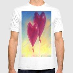 Love heart Balloons White Mens Fitted Tee MEDIUM