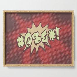 Mild profanity RETRO RED / Cartoonish anger Serving Tray