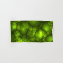 Glowing light green soap circles and volumetric green bubbles of air and water. Hand & Bath Towel